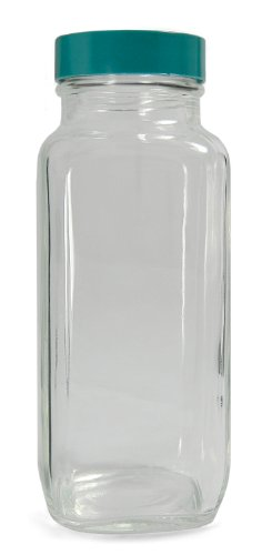 Qorpak GLC-01363 Clear Glass French Square Bottle with 48-400 Green Thermoset F217 PTFE Lined Cap, 62mm OD x 167mm Height, 16oz Capacity (Case of 40) from Qorpak