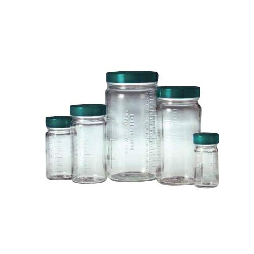 Qorpak GLC-01533 Graduated Medium Round Bottle with 58-400 Green Thermoset F217 and PTFE Lined Cap, 8 oz, Clear (Pack of 24) from Qorpak