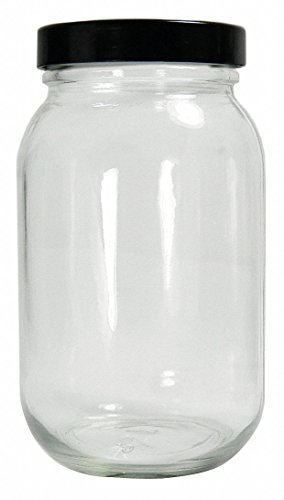 Qorpak GLC-01786 Standard Wide Mouth Bottle with 58-400 Black Phenolic Pulp/Vinyl Lined Cap, 240 mL, Clear (Pack of 24) from Qorpak