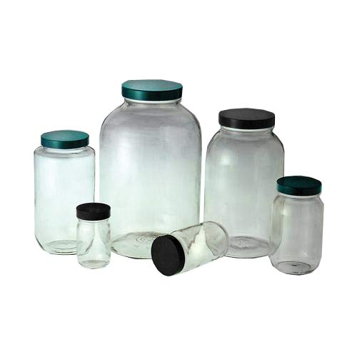 Qorpak GLC-01811 Standard Wide Mouths Bottle with Black Phenolic Pulp/Tin Foil Caps, Clear (Pack of 24) from Qorpak
