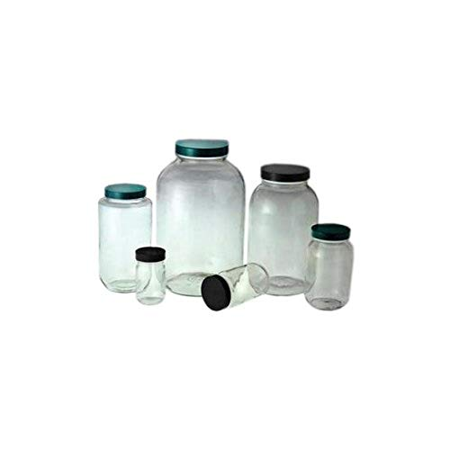 Qorpak GLC-01854 Standard Wide Mouth Bottle with 83-400 Polypropylene Cap and PTFE Disc, 64 oz, Clear (Pack of 6) from Qorpak