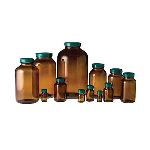 Qorpak GLC-02082 Wide Mouth Packer Bottle with 28-400 Green Thermoset F217 and PTFE Lined Cap, 1 oz, Amber (Pack of 24) from Qorpak