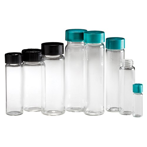 Qorpak GLC-04879 Clear Borosilicate Vial with 15-425 Black Phenolic Pulp/Vinyl Lined Cap, 19 mm x 65 mm, 3 dram (Pack of 144) from Qorpak