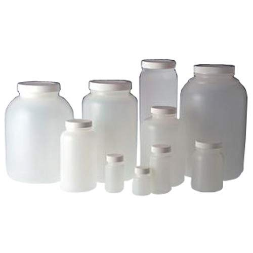 Qorpak PLC-09533 HDPE Wide Mouth Round Bottle with 89-400 White PP Unlined Cap, 68 oz, Natural (Pack of 50) from Qorpak