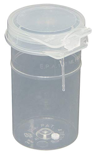 Qorpak PLC-09774 Natural Polypropylene High Profile Custody Hinged Vial with Sodium Thiosulfate Tablet, Break Off Arrow Lock Seal Tab and Custody String, 120 mL Capacity (Pack of 200) from Qorpak