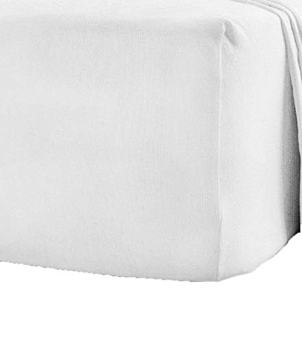 Queens Land Home 100% Brushed Cotton Flannelette Fitted Sheets, Pillowcase available in (Super King, White) from Queens Land Home