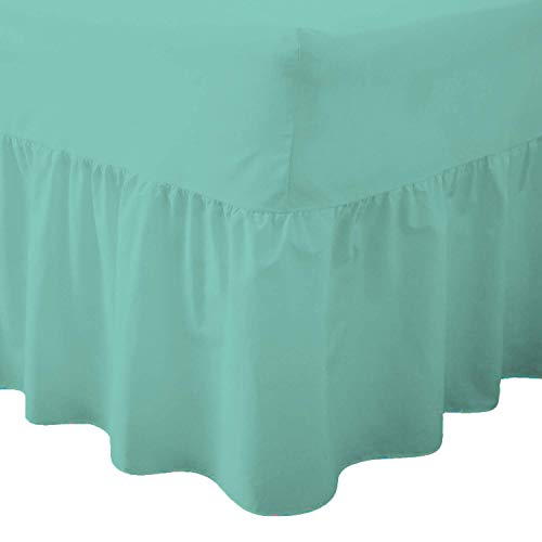Queens Land Home Easy care & Long Lasting Pollycotton Valance Fitted Sheet. (Double, Mint Green) from Queens Land Home