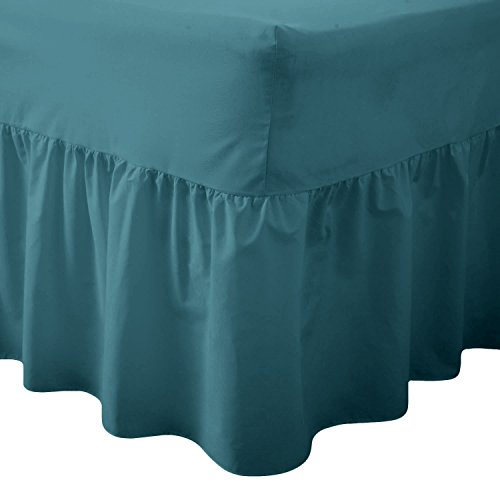 Queens Land Home Easy care & Long Lasting Pollycotton Valance Fitted Sheet. (Double, Teal) from Queens Land Home