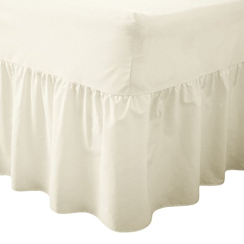 Queens Land Home Easy care & Long Lasting Pollycotton Valance Fitted Sheet. (King, Cream) from Queens Land Home