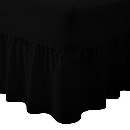 Queens Land Home Easy care & Long Lasting Pollycotton Valance Fitted Sheet. (Single, Black) from Queens Land Home