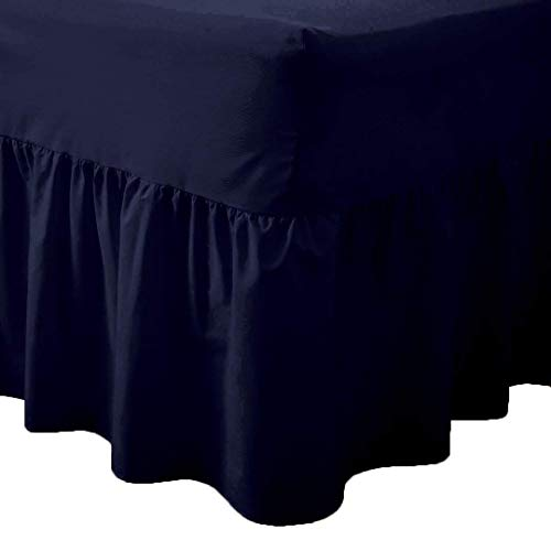 Queens Land Home Easy care & Long Lasting Pollycotton Valance Fitted Sheet. (Single, Navy Blue) from Queens Land Home