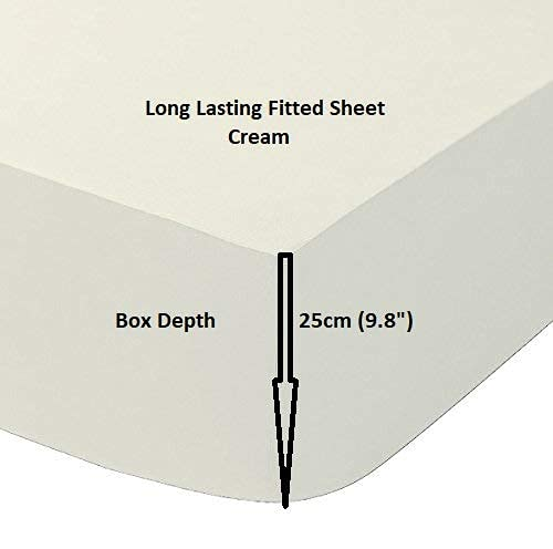 Queens Land Home Easycare & Long Lasting Pollycotton Small Double 4FT Fitted Sheet (Cream) from Queens Land Home