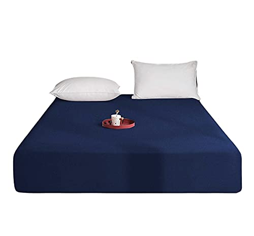 Queens Land Home Extra Deep (40cm) Easycare & Long Lasting Pollycotton Fitted Sheet. (Navy, Double) from Queens Land Home