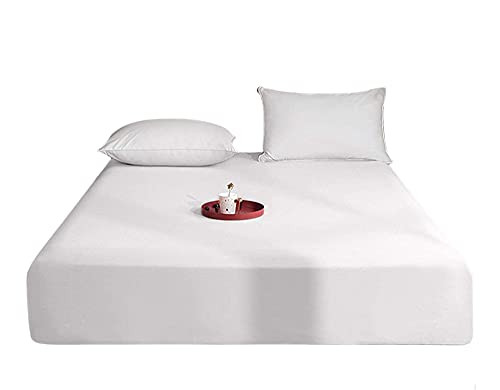 Queens Land Home Extra Deep (40cm) Easycare & Long Lasting Pollycotton Fitted Sheet. (White, Single) from Queens Land Home