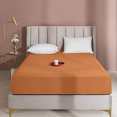 "Queens Land Home Extra Deep 16""(40cm) Non Iron Percale Plain Pollycotton Fitted Sheet-(Double, Latte) from Queens Land Home"