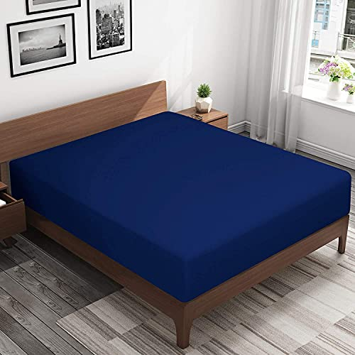 "Queens Land Home Extra Deep 16""(40cm) Non Iron Percale Plain Pollycotton Fitted Sheet-(Double, Royal Blue) from Queens Land Home"