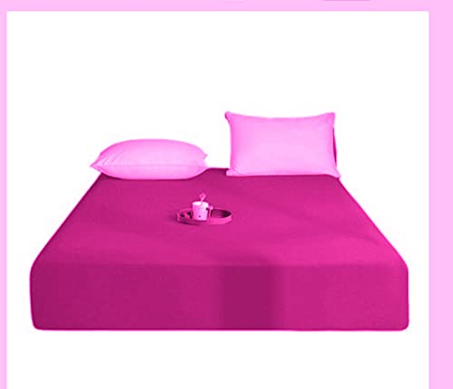"Queens Land Home Extra Deep 16""(40cm) Non Iron Percale Plain Pollycotton Fitted Sheet-(Pillow Case, Fushia) from Queens Land Home"
