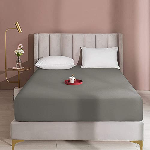 "Queens Land Home Extra Deep 16""(40cm) Non Iron Percale Plain Pollycotton Fitted Sheet-(Single, Gray) from Queens Land Home"
