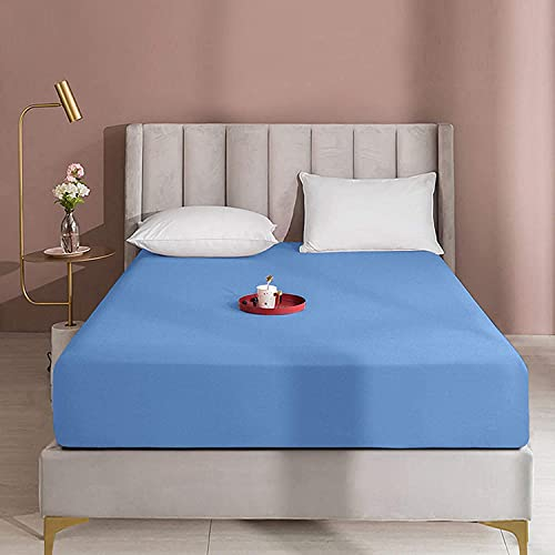 "Queens Land Home Extra Deep 16""(40cm) Non Iron Percale Plain Pollycotton Fitted Sheet-(Super King, Mid Blue) from Queens Land Home"