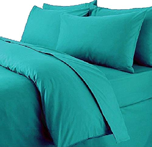 Queens Land Home Non Iron Percale Pollycotton Dyed Duvet Cover & 2 Pillow Cases Bed Set. (King, Teal) from Queens Land Home