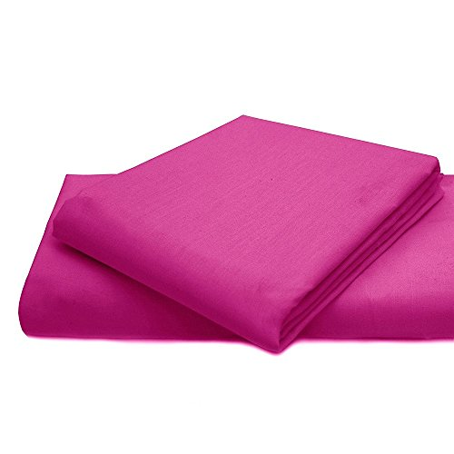 Queens Land Home Non Iron Percale Pollycotton Flat Sheet (King, Fushia) from Queens Land Home