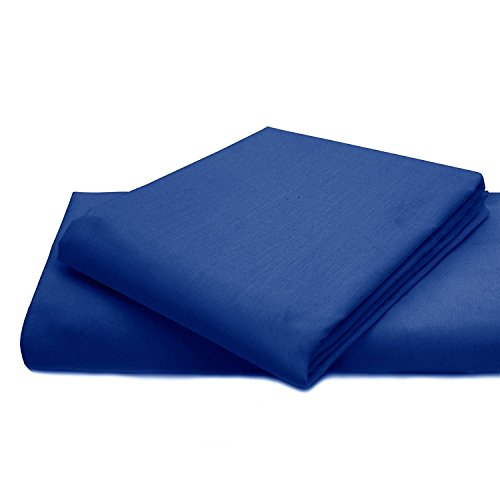 Queens Land Home Non Iron Percale Pollycotton Flat Sheet (King, Royal Blue) from Queens Land Home