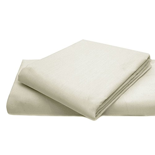 Queens Land Home Non Iron Percale Pollycotton Flat Sheet (Single, Cream) from Queens Land Home