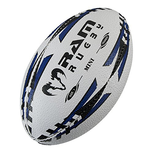 Ram Mini Rugby Ball - Air Filled (Blue) or Softee (Red) - Size 1 (15cm) - Fun Rugby Ball (Air Filled - Blue) from Ram
