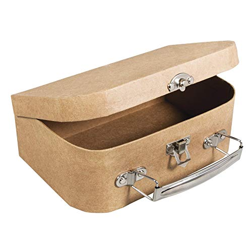 Rayher 67204000 Papier Mache Suitcase with Metal Handle, Sturdy Cardboard Carrying Case for Crafting, 12 x 8.5 x 5 cm from Rayher