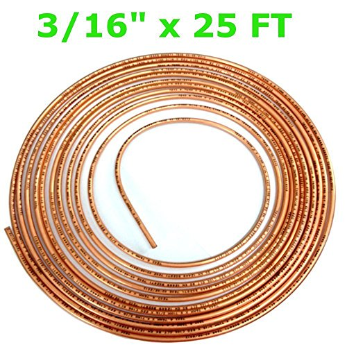 "3/16"" x 25 FT Copper brake pipe / tube 22G, (4.76mm x 0.71 x 7.6mtr) from RC"