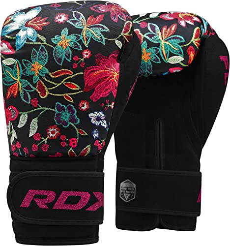RDX Women Boxing Gloves for Training & Muay Thai - Flora Skin Ladies Mitts for Sparring, Fighting & Kickboxing - Good for Punch Bag, Focus Pads and Double End Ball Punching from RDX