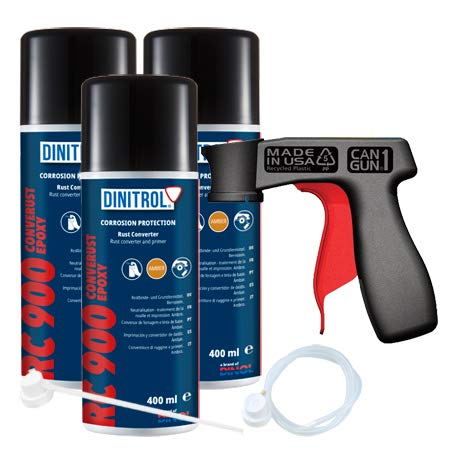3 x DINITROL RC900 RUST CONVERTER PRIMER 400ml CAN + EXTENSION NOZZLE + CANGUN from REJEL