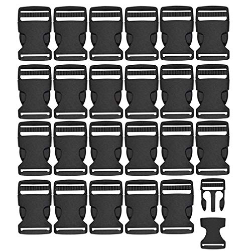 REKYO 24 pcs black plastic 1-inch (25mm) flat side release buckles (Buckles-24) from REKYO