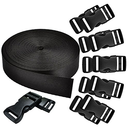REKYO 1 Inch Wide 10 Yards Black Nylon Heavy Webbing Strap and 12 PCS Flat Side Release Buckles Nylon Webbing Tape for DIY Craft Backpack Strapping from REKYO