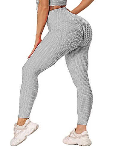 RIOJOY  Women's Honeycomb Celulite Leggings, Scrunch/Ruched Butt Fitness Running Tights, High Waist Gym Yoga Pants, L,  Grey from RIOJOY