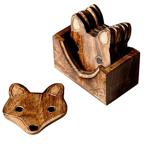 Set Of 6 Wooden Fox Coasters In Wooden Box Set Brown Beige from Sass & Belle
