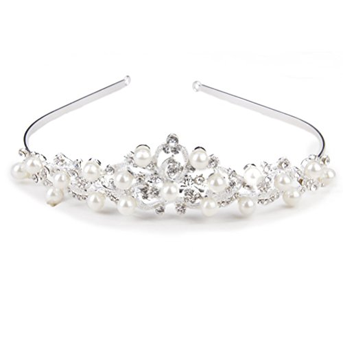 ROSENICE Tiara Crown Bridal Hairband Crystal Rhinestone Pearl Flower Headband (Sliver) from ROSENICE