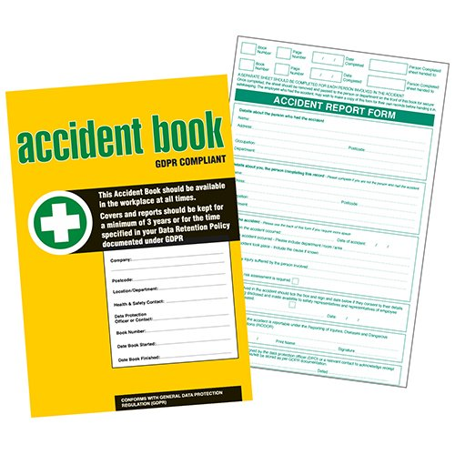 GDPR Compliant Business/Workplace Accident Report Book - A4 from V Safety