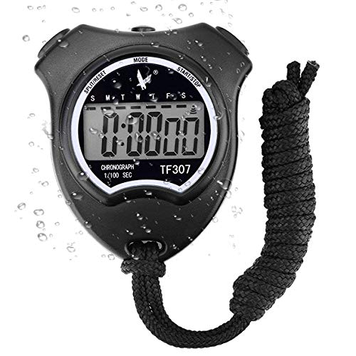 Digital Sport Stopwatch Timer, Handheld Chronograph Digital Stopwatch with Alarm/Calendar Suits for Swimming Running Football Training, Shockproof Sport Stopwatches for Coaches Referee Equipment from RSVOM