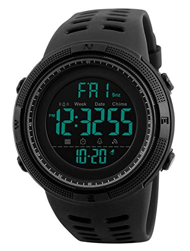RSVOM Mens Digital Watch - 50M Waterproof Men Sports Watches, Black Big Face LED Military Wrist Watch with Alarm/Countdown Timer/Dual Time/Stopwatch/12/24H Format for Man from RSVOM