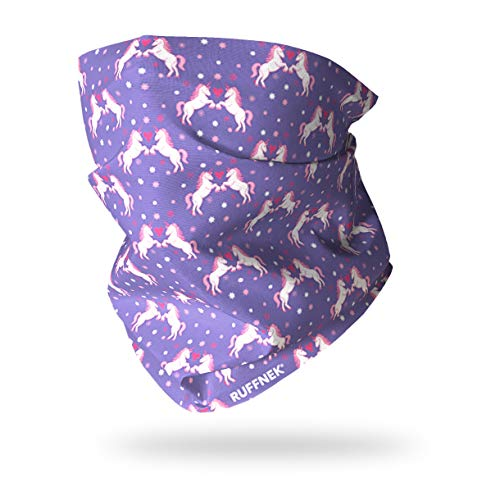 UNICORNS - PURPLE, PINK, HEARTS - RUFFNEK® Multifunctional scarf/neck warmer for Girls, Women - Bandana/scarf, Beach Holiday Head Scarf,beanie hat,protective sun, wind, snow bandana,hiking,cycling,skiing,outdoors. from RUFFNEK