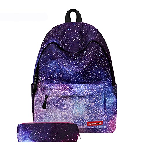 Eleoption Personality Creative Shoulder Bag Cartoon Printing Backpack Teenage Students School Backpack with Pencil Bag, Ultralight Burden Reduction, Outdoor Travel Rucksack (Galaxy Pattern) from RUNNINGTIGER