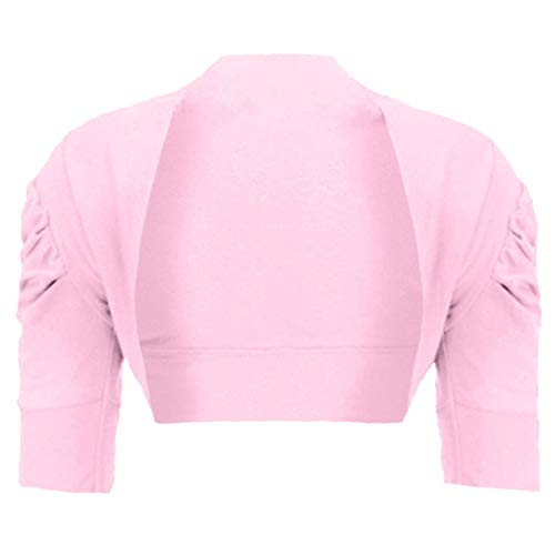 Girls Ruched Sleeve Cotton Bolero Shrug in Baby Pink 3-4 Years from RageIT