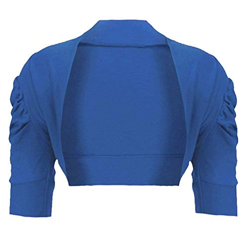 Girls Ruched Sleeve Cotton Bolero Shrug in Blue 7-8 Years from RageIT