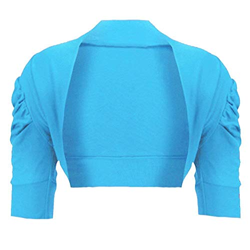 Girls Ruched Sleeve Cotton Bolero Shrug in Turquoise 7-8 Years from RageIT