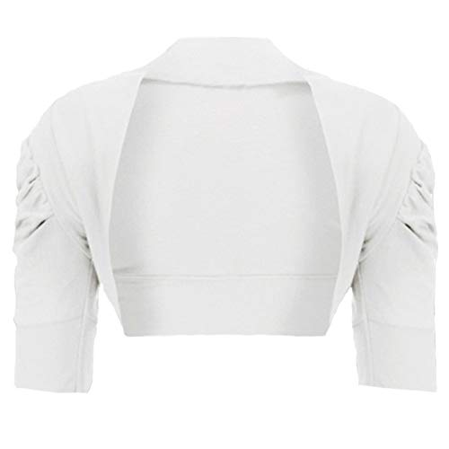 Girls Ruched Sleeve Cotton Bolero Shrug in White 5-6 Years from RageIT