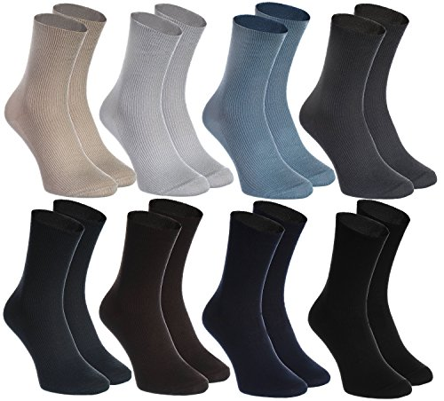 8 pairs of NON-BINDING Socks for DIABETICS by Rainbow Socks - Health COTTON Loose Non-Elastic Socks for SWOLLEN FEET and VARICOSE VEINS - Comfortable and Delicate - Size UK 8,5-9,5 Made in EUROPE from Rainbow Socks