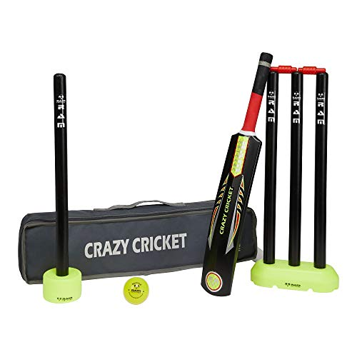 Ram Crazy Cricket Set - Mini Kids Set, 1 x Size 2 Bat, Kwik, Quick, Beach, Park - Suitable for approx ages 5-9 years from Ram