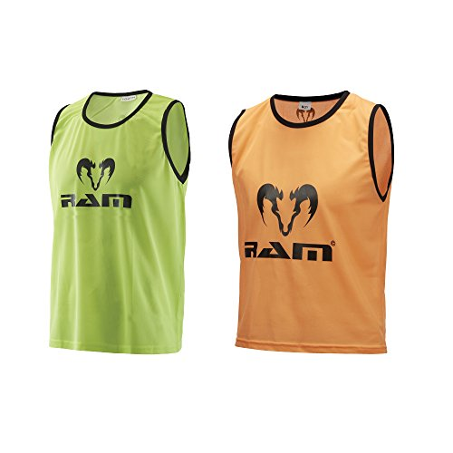 Ram Rugby Mesh Polyester Training Bibs - Set of 10 Bibs - Yellow or Orange (Orange, XL) from Ram