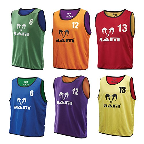Ram Rugby Reversible Numbered Training Bibs - 3 Sizes - 3 Colours (Red & Yellow, Junior) from Ram